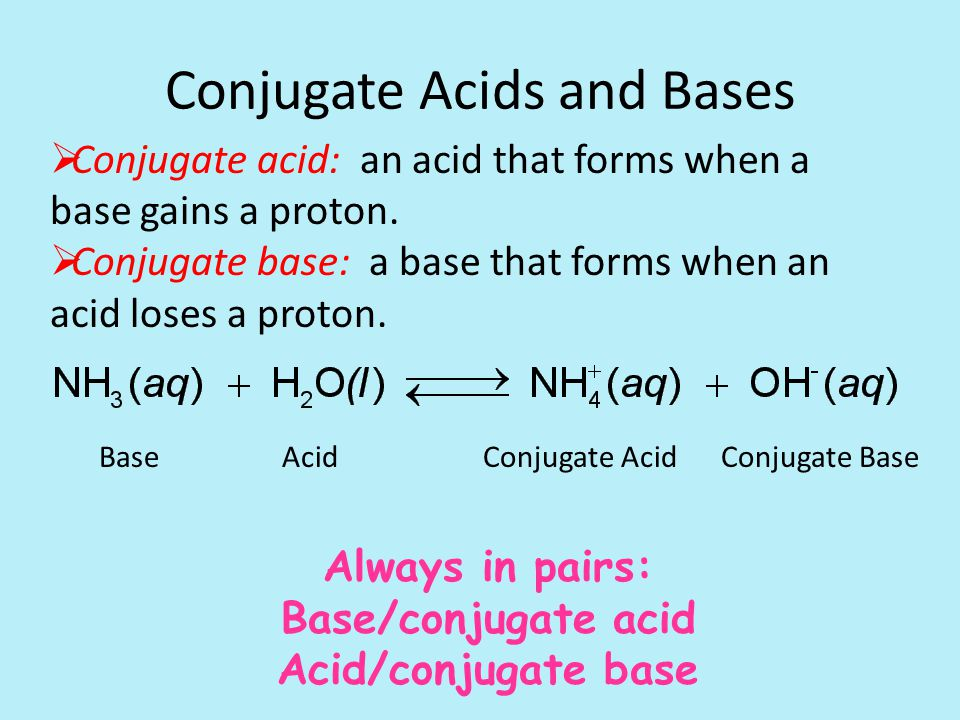 Conjugate Acids and Bases  Conjugate acid: an acid that forms when a base gains a proton.