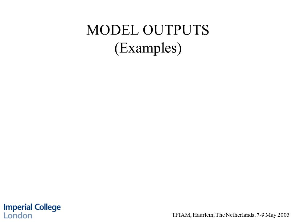 TFIAM, Haarlem, The Netherlands, 7-9 May 2003 MODEL OUTPUTS (Examples)