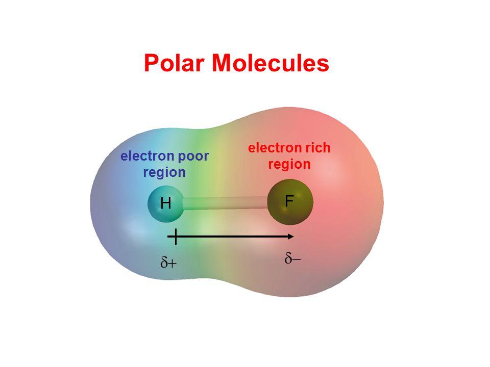 Polar Molecules H F electron rich region electron poor region  
