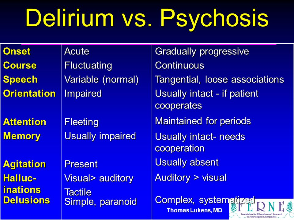 Thomas Lukens, MD Delirium vs.