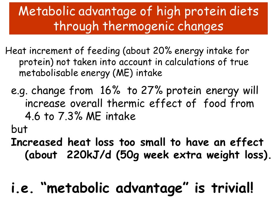 """High protein, very low carb diet (ATKINS), induces weight loss Is this due to a """"metabolic advantage""""? Weight loss4.7-11kg Diet trials data: Truby, Mo"""