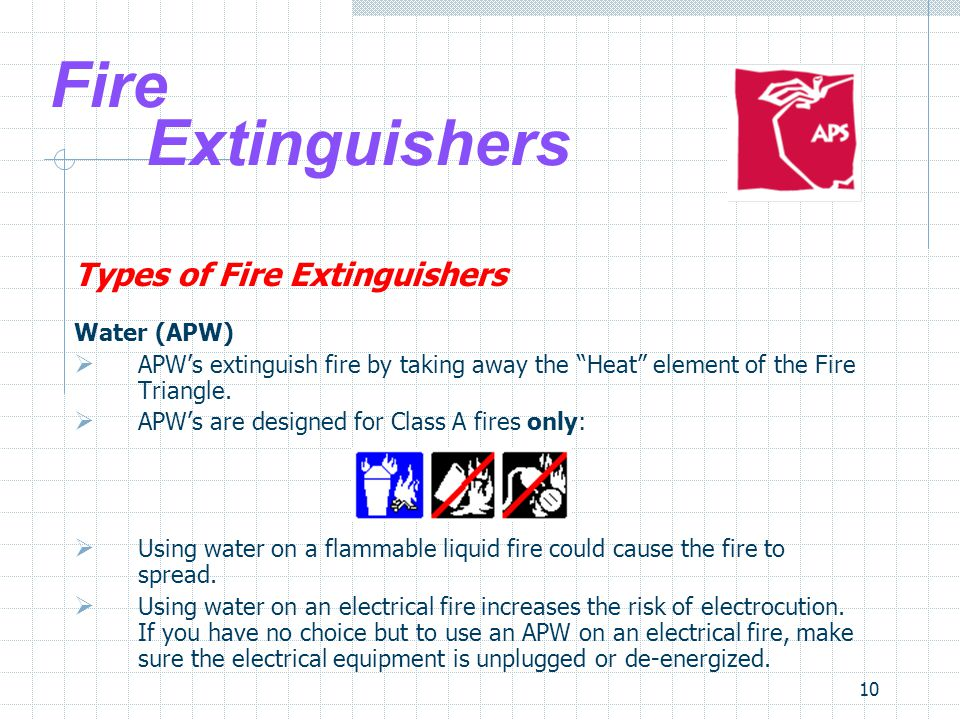 10 Fire Extinguishers Types of Fire Extinguishers Water (APW)  APW's extinguish fire by taking away the Heat element of the Fire Triangle.