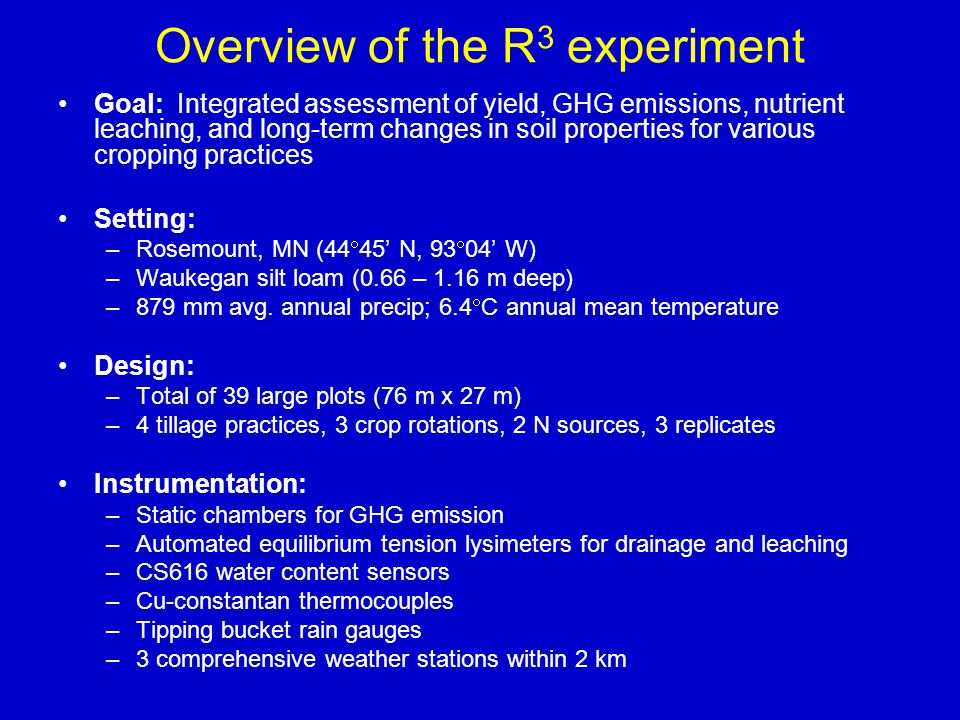 Overview of the R 3 experiment Goal: Integrated assessment of yield, GHG emissions, nutrient leaching, and long-term changes in soil properties for va