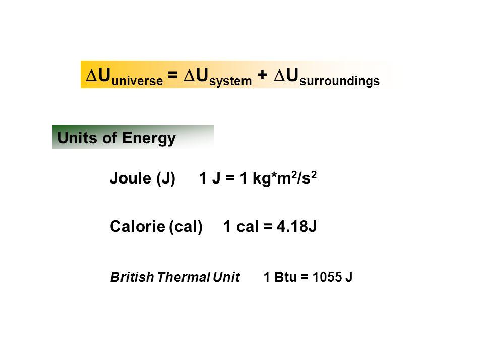  U universe =  U system +  U surroundings Units of Energy Joule (J) Calorie (cal) British Thermal Unit 1 cal = 4.18J 1 J = 1 kg*m 2 /s 2 1 Btu = 10