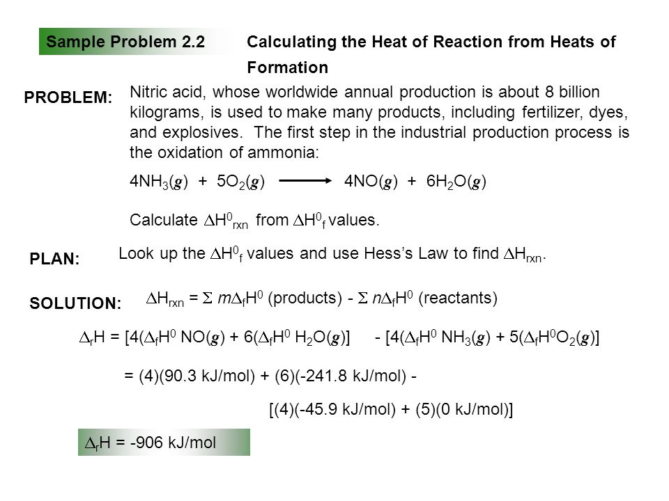 Sample Problem 2.2Calculating the Heat of Reaction from Heats of Formation SOLUTION: PLAN: PROBLEM: Nitric acid, whose worldwide annual production is