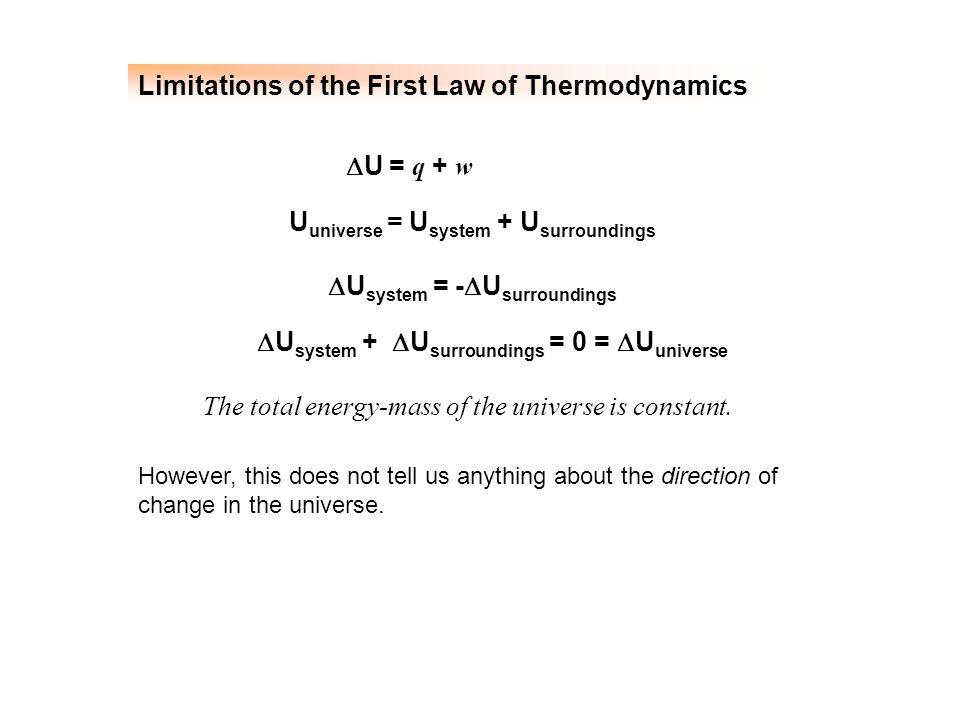 Limitations of the First Law of Thermodynamics  U = q + w U universe = U system + U surroundings  U system = -  U surroundings The total energy-mas