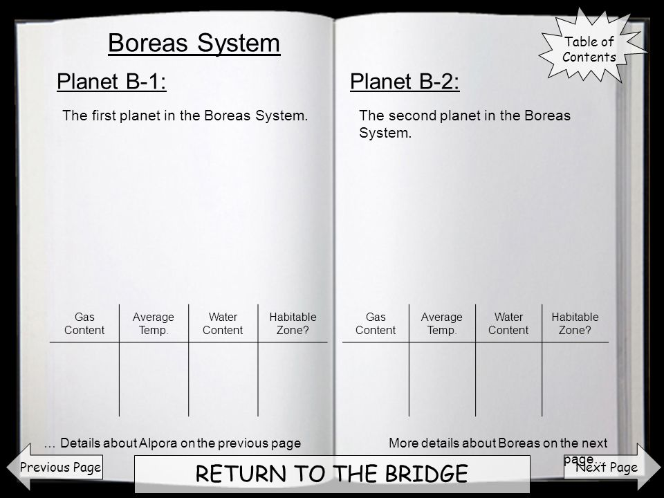 Next Page RETURN TO THE BRIDGE Planet B-1:Planet B-2: Previous Page The first planet in the Boreas System.The second planet in the Boreas System. More