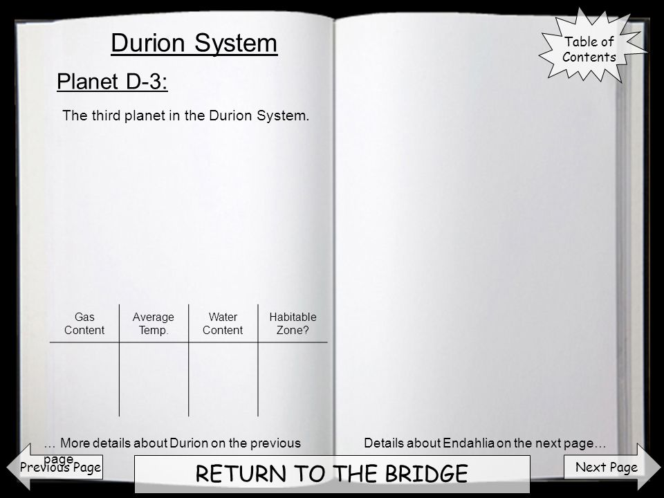 Next Page RETURN TO THE BRIDGE Planet D-3: Previous Page The third planet in the Durion System.