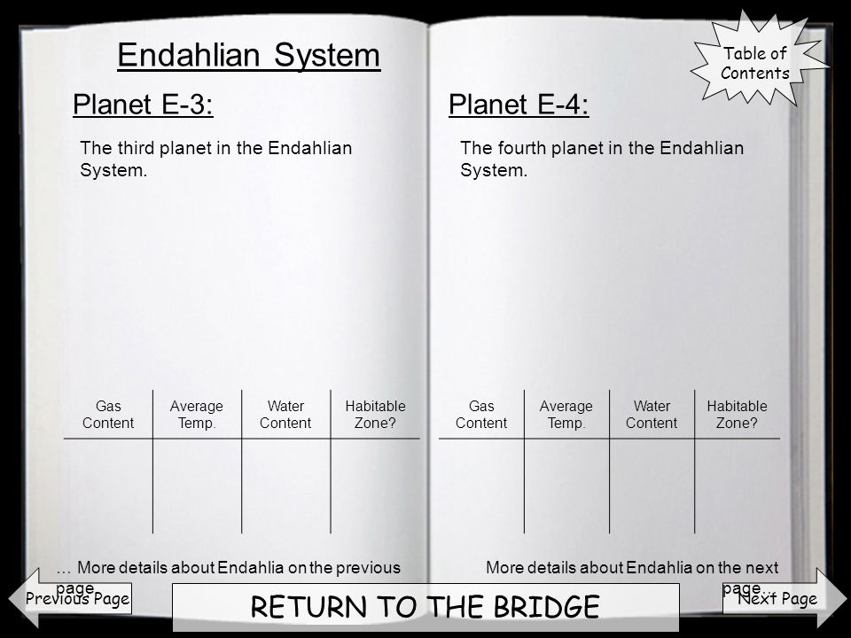 Next Page RETURN TO THE BRIDGE Planet E-3:Planet E-4: Previous Page The third planet in the Endahlian System.