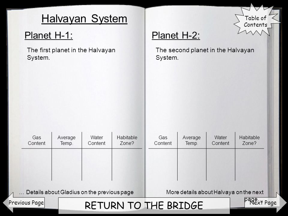 Next Page RETURN TO THE BRIDGE Planet H-1:Planet H-2: Previous Page The first planet in the Halvayan System. The second planet in the Halvayan System.