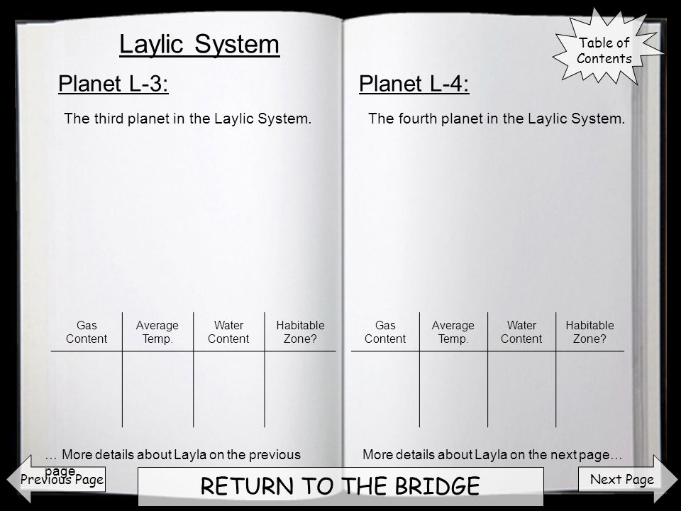 Next Page RETURN TO THE BRIDGE Planet L-3:Planet L-4: Previous Page The third planet in the Laylic System.The fourth planet in the Laylic System.