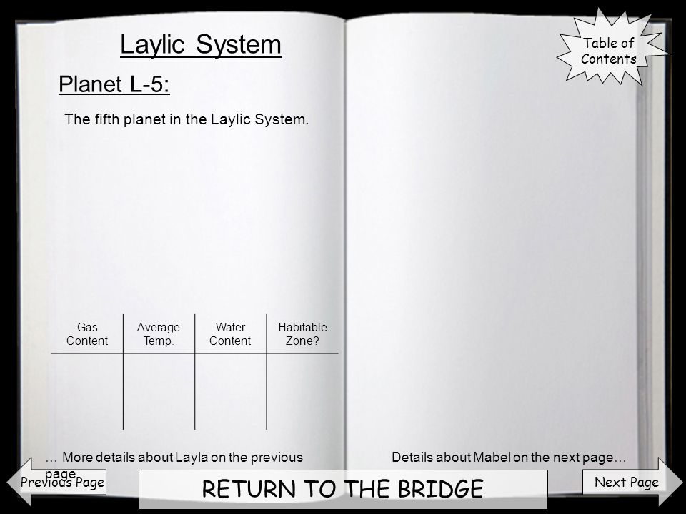 Next Page RETURN TO THE BRIDGE Planet L-5: Previous Page The fifth planet in the Laylic System.
