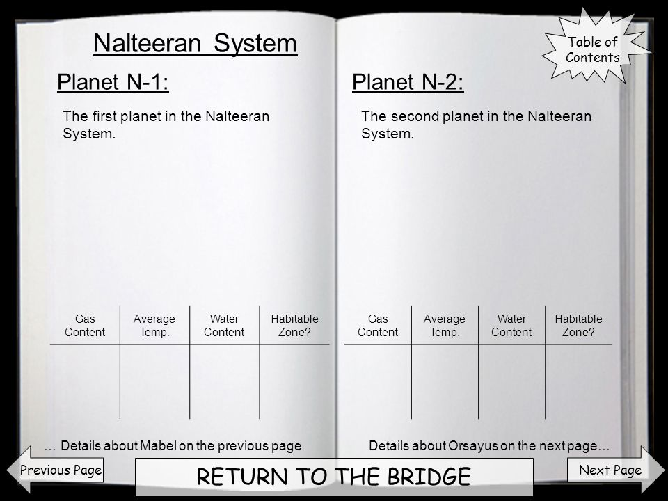 Next Page RETURN TO THE BRIDGE Planet N-1:Planet N-2: Previous Page The first planet in the Nalteeran System. The second planet in the Nalteeran Syste