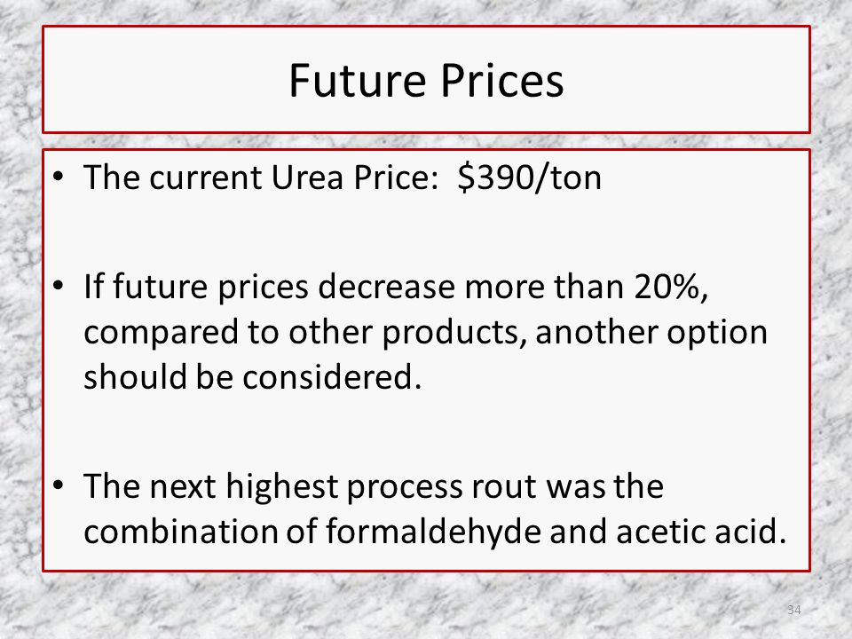 Future Prices The current Urea Price: $390/ton If future prices decrease more than 20%, compared to other products, another option should be considered.