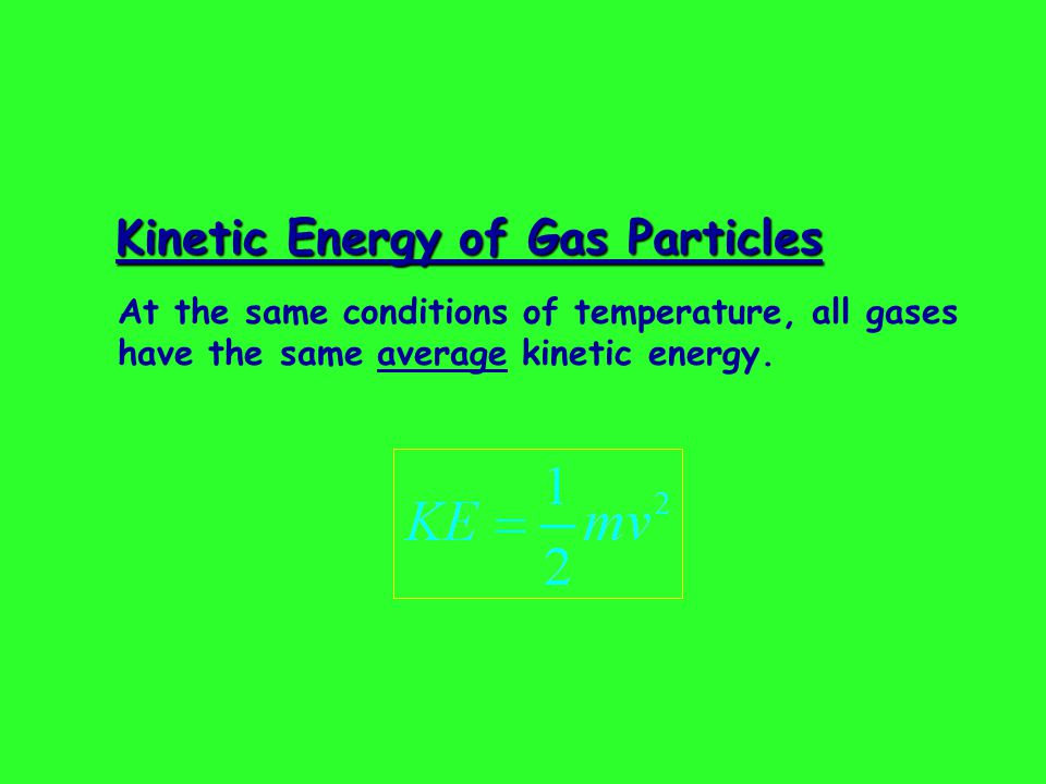Kinetic Energy of Gas Particles At the same conditions of temperature, all gases have the same average kinetic energy.
