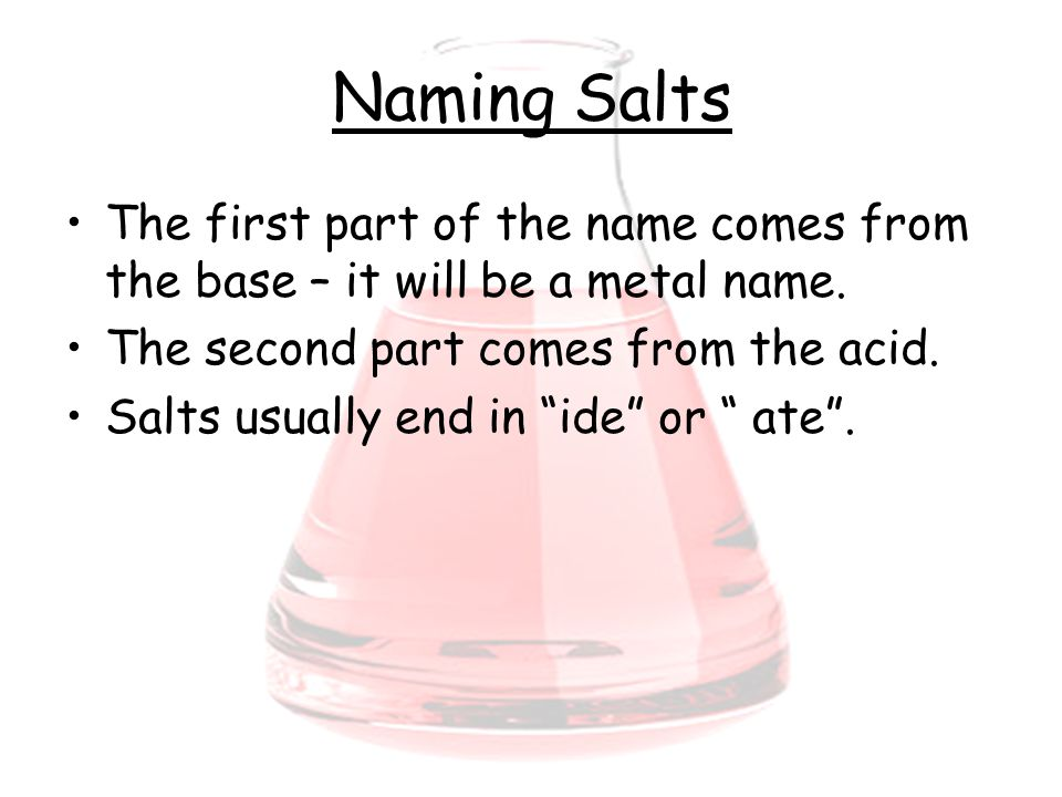 Naming Salts The first part of the name comes from the base – it will be a metal name.