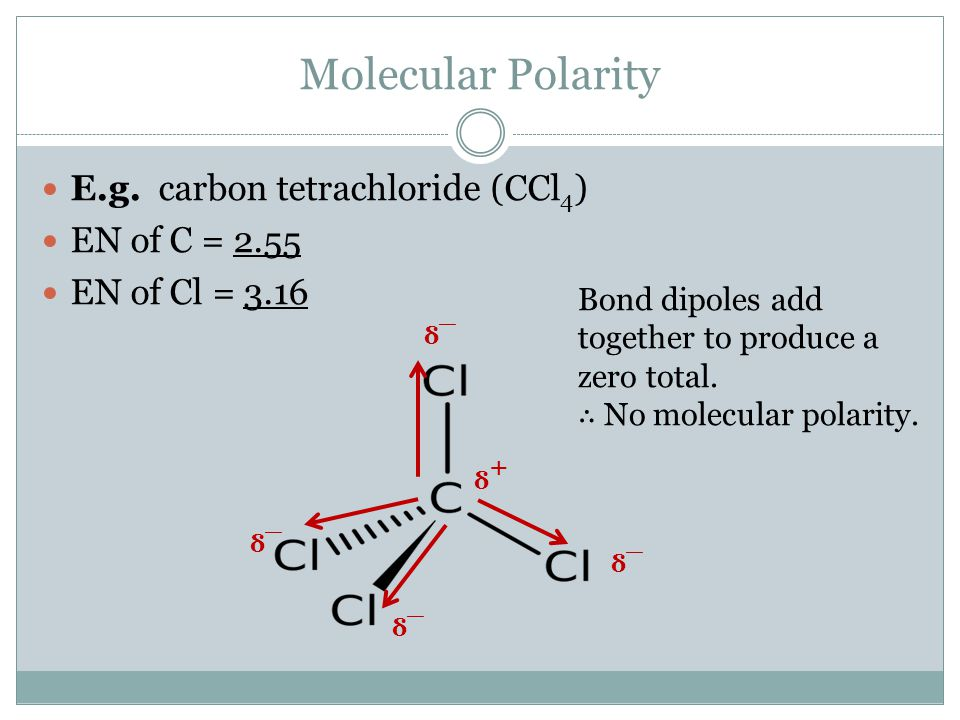 Molecular Polarity E.g. carbon tetrachloride (CCl 4 ) EN of C = 2.55 EN of Cl = 3.16 δ+δ+ δ¯ δ+δ+