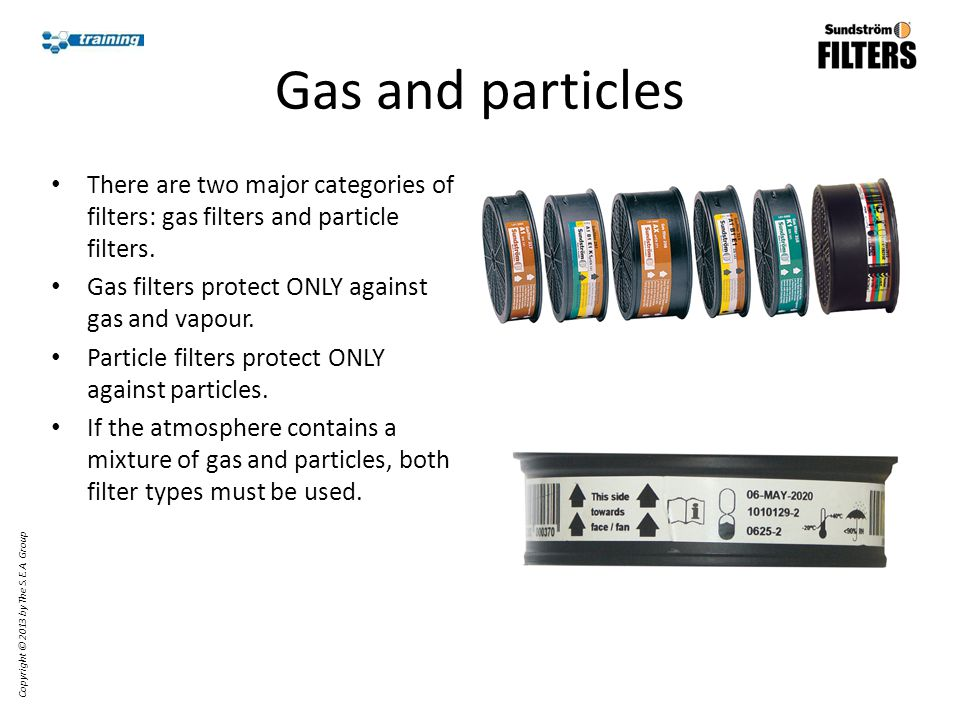 Gas and particles There are two major categories of filters: gas filters and particle filters.