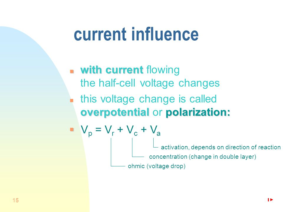 15 current influence n withcurrent n with current flowing the half-cell voltage changes overpotentialpolarization: n this voltage change is called overpotential or polarization: n V p = V r + V c + V a activation, depends on direction of reaction concentration (change in double layer) ohmic (voltage drop)