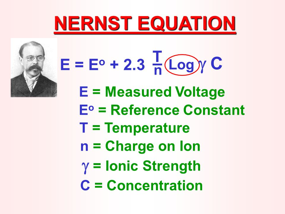 NERNST EQUATION E = E o + 2.3 T Log  C n E = Measured Voltage E o = Reference Constant T = Temperature n = Charge on Ion  = Ionic Strength C = Concentration