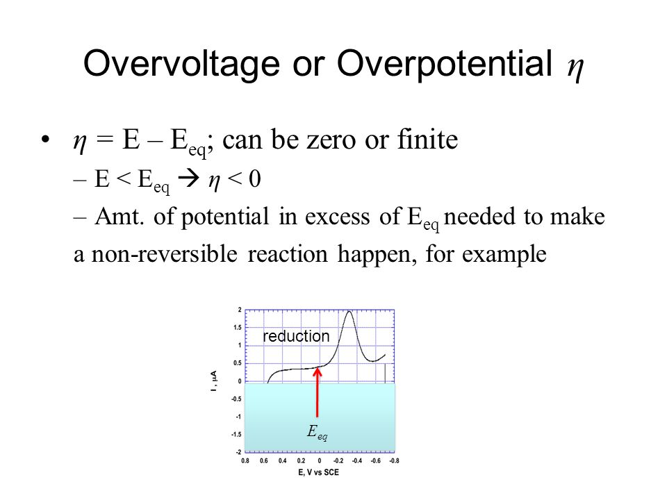 Overvoltage or Overpotential η η = E – E eq ; can be zero or finite –E < E eq  η < 0 –Amt. of potential in excess of E eq needed to make a non-revers