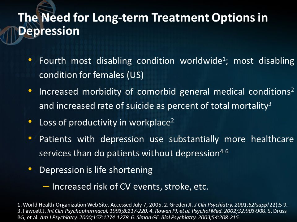 The Need for Long-term Treatment Options in Depression Fourth most disabling condition worldwide 1 ; most disabling condition for females (US) Increased morbidity of comorbid general medical conditions 2 and increased rate of suicide as percent of total mortality 3 Loss of productivity in workplace 2 Patients with depression use substantially more healthcare services than do patients without depression 4-6 Depression is life shortening – Increased risk of CV events, stroke, etc.
