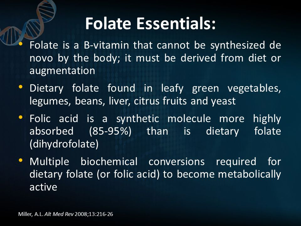 Folate Essentials: Folate is a B-vitamin that cannot be synthesized de novo by the body; it must be derived from diet or augmentation Dietary folate found in leafy green vegetables, legumes, beans, liver, citrus fruits and yeast Folic acid is a synthetic molecule more highly absorbed (85-95%) than is dietary folate (dihydrofolate) Multiple biochemical conversions required for dietary folate (or folic acid) to become metabolically active Miller, A.L.