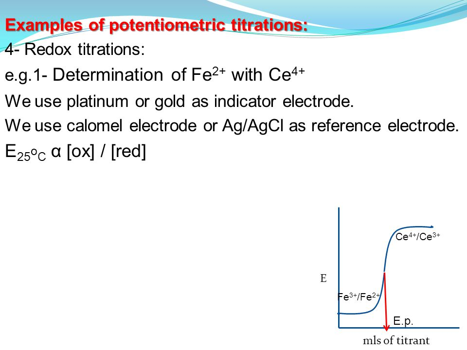 Examples of potentiometric titrations: 4- Redox titrations: e.g.1- Determination of Fe 2+ with Ce 4+ We use platinum or gold as indicator electrode.