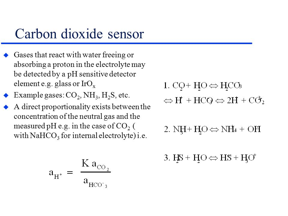 Carbon dioxide sensor u Gases that react with water freeing or absorbing a proton in the electrolyte may be detected by a pH sensitive detector element e.g.
