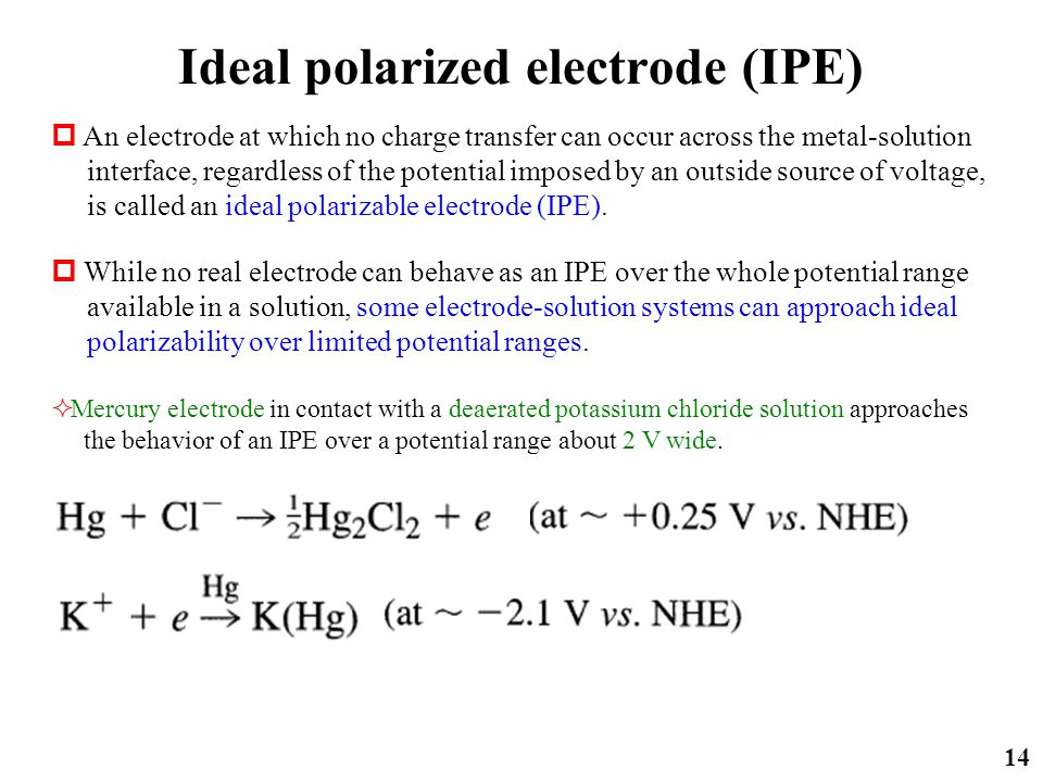 Ideal polarized electrode (IPE) 14  An electrode at which no charge transfer can occur across the metal-solution interface, regardless of the potenti