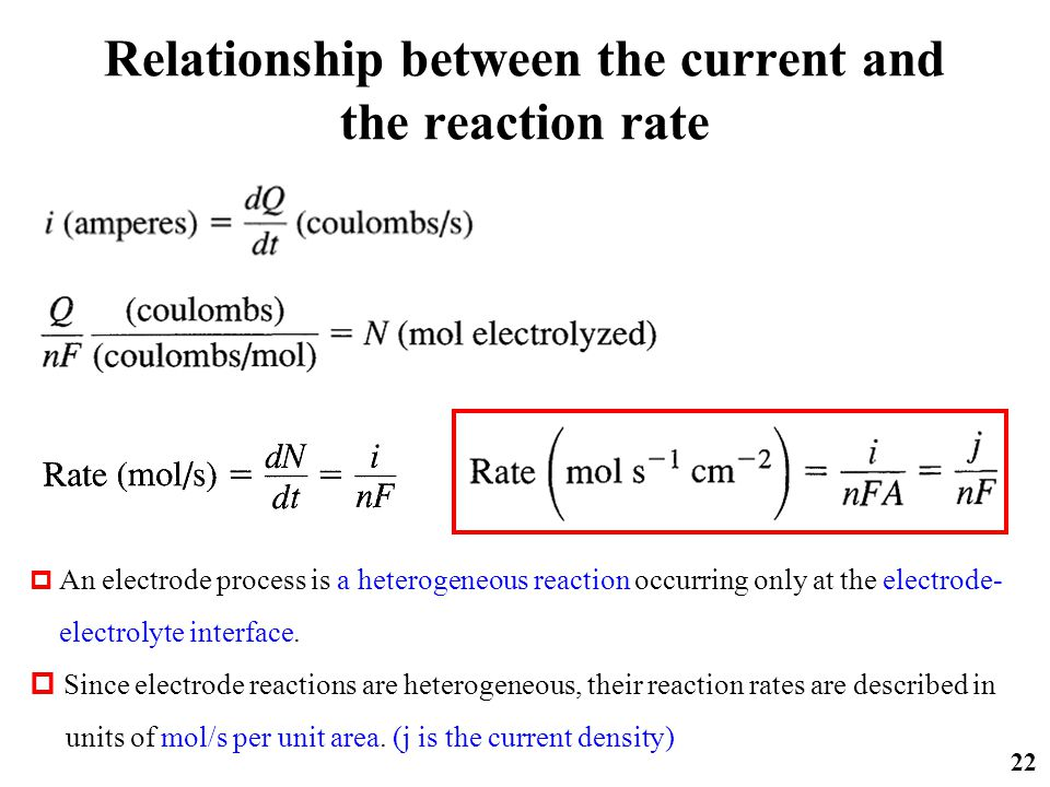 Relationship between the current and the reaction rate 22  An electrode process is a heterogeneous reaction occurring only at the electrode- electrol