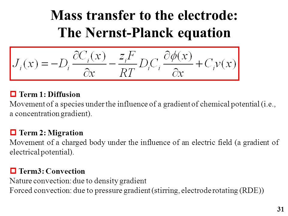 Mass transfer to the electrode: The Nernst-Planck equation 31  Term 1: Diffusion Movement of a species under the influence of a gradient of chemical