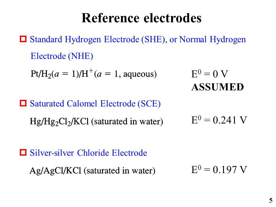 5  Standard Hydrogen Electrode (SHE), or Normal Hydrogen Electrode (NHE) Reference electrodes  Saturated Calomel Electrode (SCE)  Silver-silver Chloride Electrode E 0 = 0 V ASSUMED E 0 = 0.241 V E 0 = 0.197 V