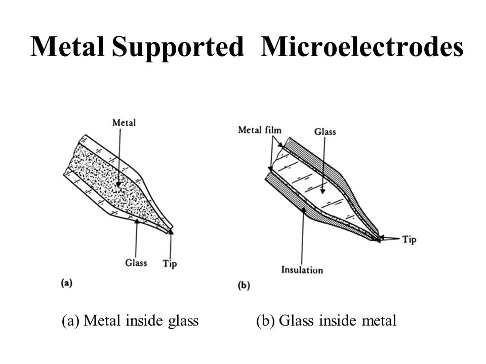 Metal Supported Microelectrodes (a) Metal inside glass(b) Glass inside metal
