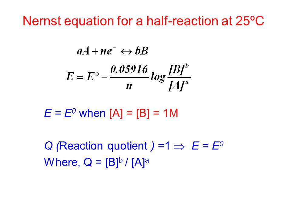 E = E 0 when [A] = [B] = 1M Q (Reaction quotient ) =1  E = E 0 Where, Q = [B] b / [A] a Nernst equation for a half-reaction at 25ºC