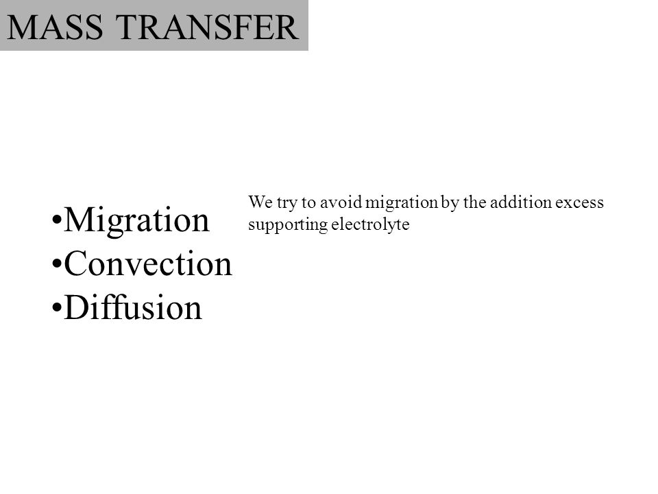 MASS TRANSFER Migration Convection Diffusion We try to avoid migration by the addition excess supporting electrolyte