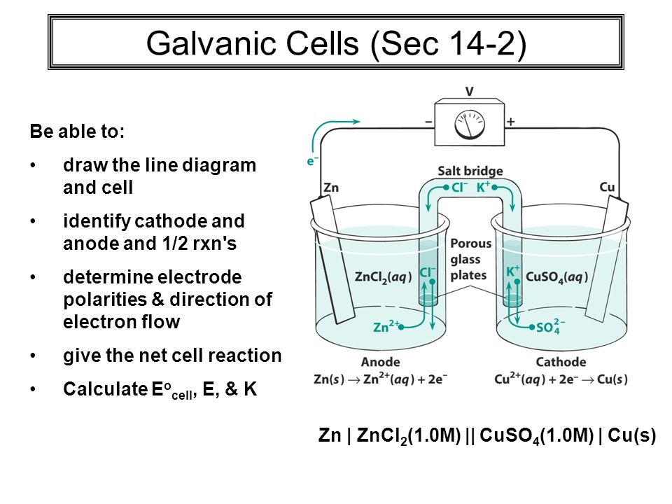 Galvanic Cells (Sec 14-2) Be able to: draw the line diagram and cell identify cathode and anode and 1/2 rxn s determine electrode polarities & direction of electron flow give the net cell reaction Calculate E o cell, E, & K Zn | ZnCl 2 (1.0M) || CuSO 4 (1.0M) | Cu(s)