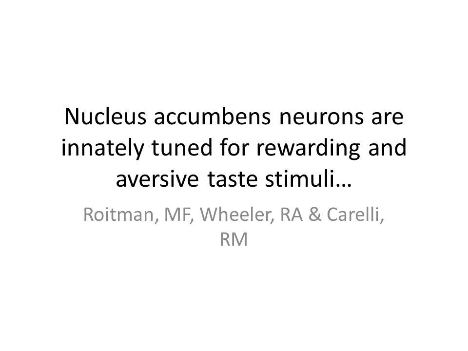 Nucleus accumbens neurons are innately tuned for rewarding and aversive taste stimuli… Roitman, MF, Wheeler, RA & Carelli, RM