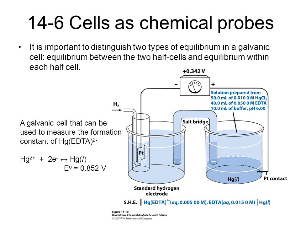 14-6 Cells as chemical probes It is important to distinguish two types of equilibrium in a galvanic cell: equilibrium between the two half-cells and e