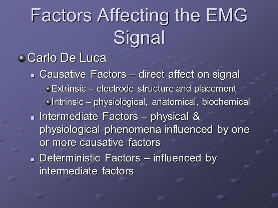 Factors Affecting the EMG Signal Carlo De Luca Causative Factors – direct affect on signal Causative Factors – direct affect on signal Extrinsic – ele