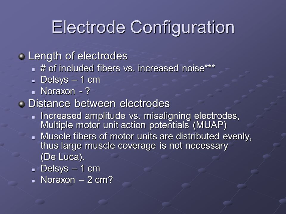 Electrode Configuration Length of electrodes # of included fibers vs. increased noise*** # of included fibers vs. increased noise*** Delsys – 1 cm Del