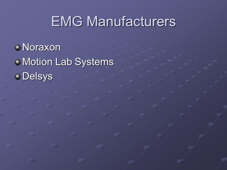 EMG Manufacturers Noraxon Motion Lab Systems Delsys