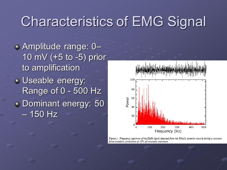 Characteristics of EMG Signal Amplitude range: 0– 10 mV (+5 to -5) prior to amplification Useable energy: Range of 0 - 500 Hz Dominant energy: 50 – 15
