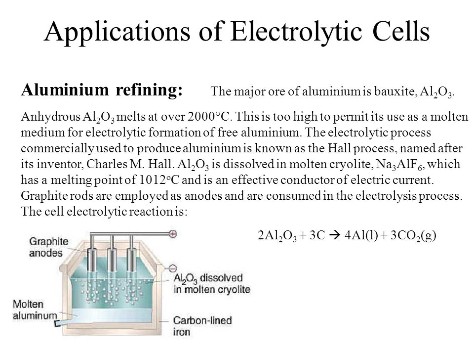 Applications of Electrolytic Cells Aluminium refining: The major ore of aluminium is bauxite, Al 2 O 3.