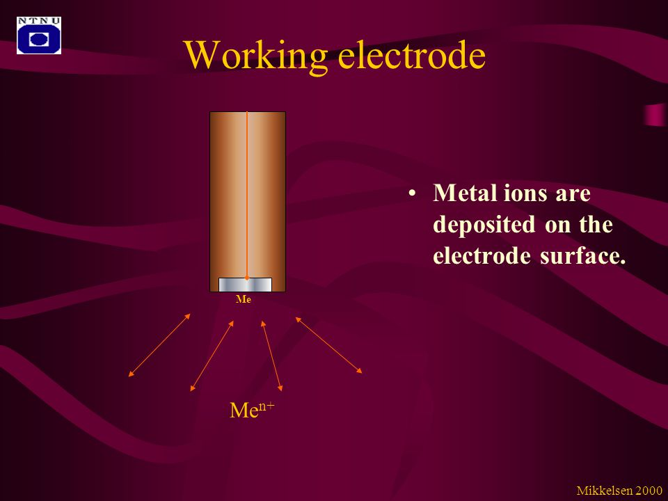 Working electrode Metal ions are deposited on the electrode surface. Me n+ Me Mikkelsen 2000
