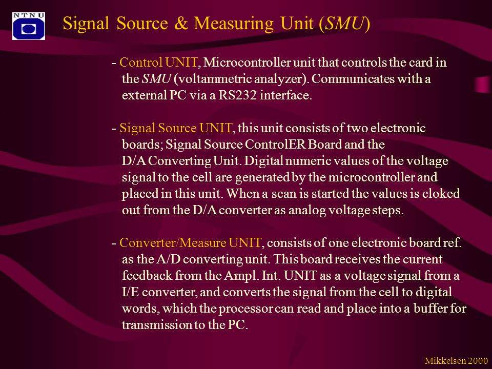 Signal Source & Measuring Unit (SMU) - Control UNIT, Microcontroller unit that controls the card in the SMU (voltammetric analyzer).