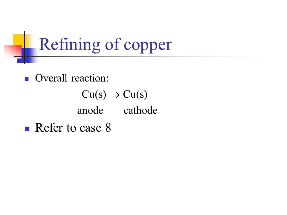 Refining of copper Overall reaction: Cu(s)  Cu(s) anode cathode Refer to case 8