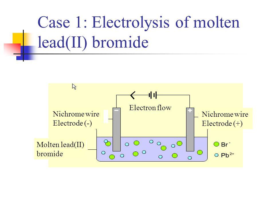 Case 1: Electrolysis of molten lead(II) bromide Nichrome wire Electrode (-) Nichrome wire Electrode (+) Molten lead(II) bromide Electron flow