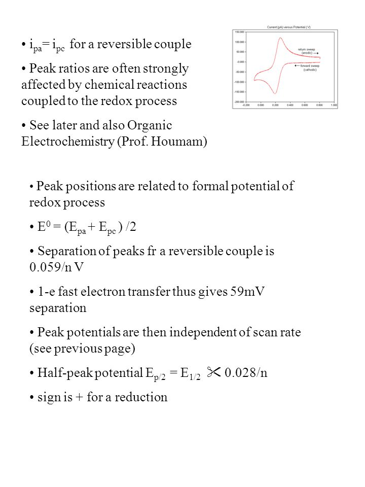 i pa = i pc for a reversible couple Peak ratios are often strongly affected by chemical reactions coupled to the redox process See later and also Orga