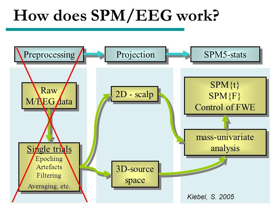 How does SPM/EEG work? Raw M/EEG data Raw M/EEG data Single trials Epoching Artefacts Filtering Averaging, etc. Single trials Epoching Artefacts Filte